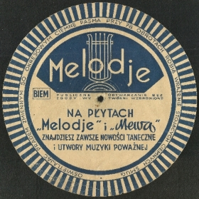 "Promo strobe disc of ""Mewa"" and ""Melodje"" (Reklamowy, stroboskopowy kalibrator obrotów ""Mewa"" i ""Melodje""), advertisement (crooner)"