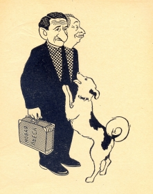 M. Slobodskoy, V. Dykhovichny. The cartoon. M. Svetlov, I. Igin. (М. Слободской, В. Дыховичный. Шарж. М. Светлов, И. Игин.) (Belyaev)