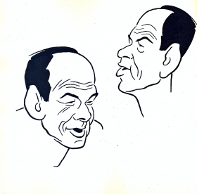 N. Cherkasov. Cartoon. M. Svetlov and I. Igin. (Н. Черкасов. Шарж. М. Светлов и И.Игин.) (Belyaev)