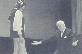 I. S. Kozlovsky with B. Akhmadulina at the rehearsal of a skit in the Central House of Writers. The photo. (И. С. Козловский с Б. Ахмадулиной на репетиции капустника в Центральном Доме литераторов. Фотография.) (Belyaev)