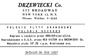"""Polonia"" records catalogue in Drzewiecki Co. store, 1957 (Katalog płyt ""Polonia"" w sklepie Drzewiecki Co. na rok 1957) (mgj)"